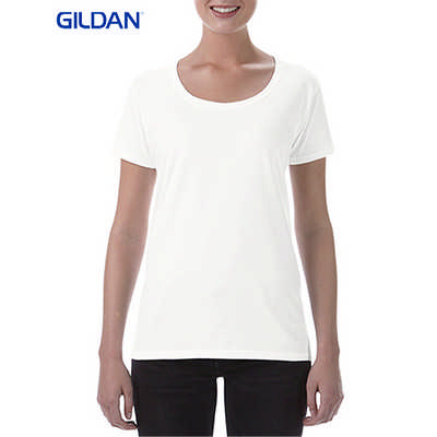 Gildan Softstyle Ladies Deep Sccop T-Shirt White